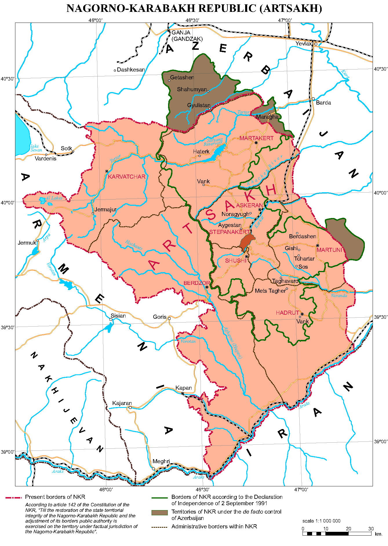The Contemporary Map of the Nagorno-Karabakh Republic (Artsakh)