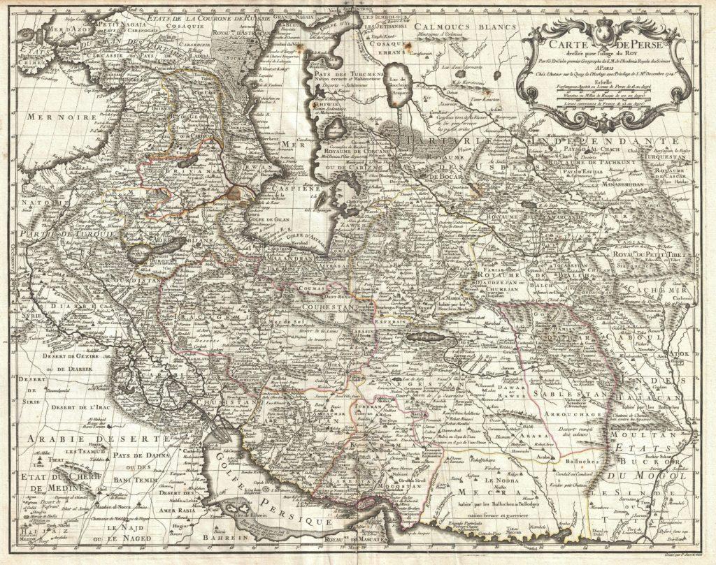Carte de Perse, dressee pour l'usage du Roy. Par G. Delisle premier Geographe de S.M. de l'Academie Royale des Sciences